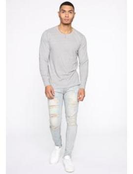 essential-henley-long-sleeve-top---heather-grey by fashion-nova
