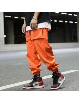 men-hip-hop-pocket-cargo-pants-harem-joggers-harajuku-streetwear-trousers-casual by unbranded