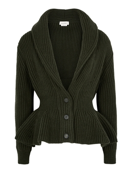 dark-green-peplum-wool-blend-cardigan by alexander-mcqueen