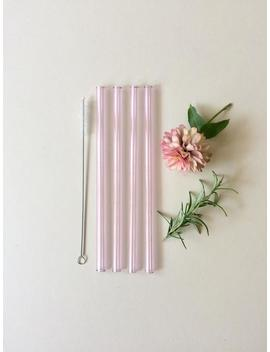 glass-straws-in-sapphire-pink_-set-of-four-reusable-drinking-straws-_-pyrex-_-eco-friendly-_-smoothie-straw-_-glass-straw by etsy