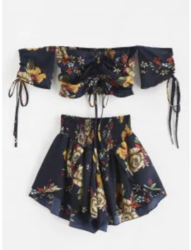Hot Zaful Off Shoulder Cinched Floral Set   Midnight Blue S by Zaful