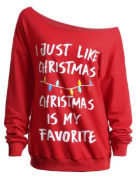 Sale Christmas Slogan Letters Print Skew Neck Sweatshirt   Red 2xl by Zaful