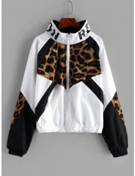 Hot Sale Zip Front Snake Leopard Colorblock Windbreaker Jacket   Leopard Xl by Zaful