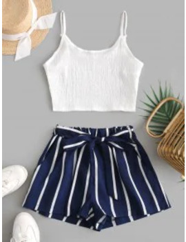 Hot Crop Cami Top And Striped Belted Shorts Set   Deep Blue M by Zaful