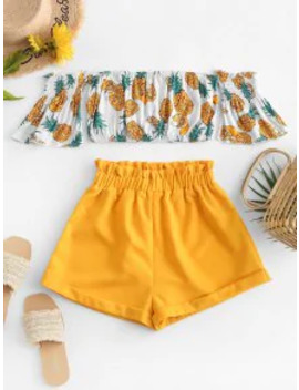 Hot Off Shoulder Pineapple Top And Paperbag Shorts Set   Yellow S by Zaful