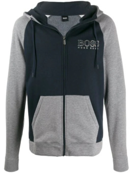 colour-block-zipped-hoodie by boss