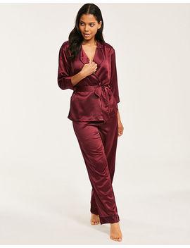 Wren Satin Kimono &Amp; Pant Set by Bluebella