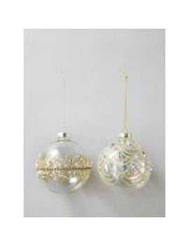 set-of-2-gold-embellished-glass-baubles by sass-&-belle