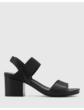 maddox-black-leather-open-toe-block-heel-sandal by wittner