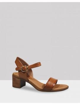 Kathleen Cognac Leather Open Toe Block Heel Sandal by Wittner