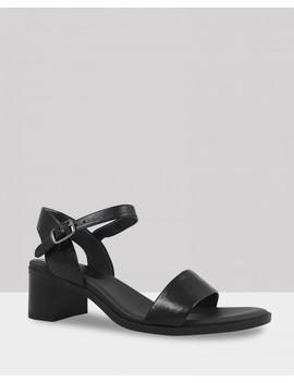 Kathleen Black Leather Open Toe Block Heel Sandal by Wittner
