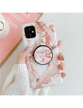 for-iphone-11-pro-max-xr-x-7-8-plus-marble-case-with-pop-up-holder-socket-relief by ebay-seller