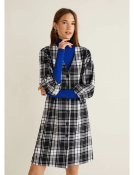 pleated-waist-check-dress by mango