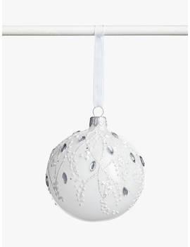 john-lewis-&-partners-snowscape-floral-gem-vine-bauble,-white by john-lewis-&-partners