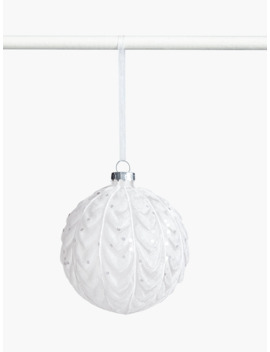 john-lewis-&-partners-snowscape-glitter-scallop-bauble,-white by john-lewis-&-partners