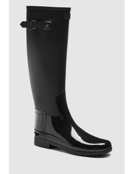hunter-black-refined-duo-gloss-tall-welly by next