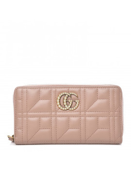 gucci-calfskin-matelasse-pearl-gg-marmont-zip-around-wallet-nude by gucci