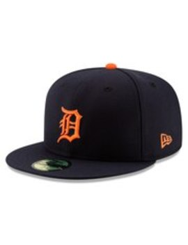 Detroit Tigers New Era Road Authentic Collection On Field Logo 59 Fifty Fitted Hat   Navy by New Era