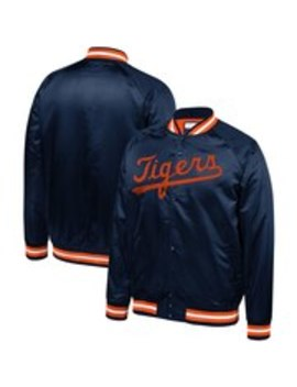 Detroit Tigers Mitchell & Ness Satin Full Snap Jacket   Navy by Mitchell & Ness