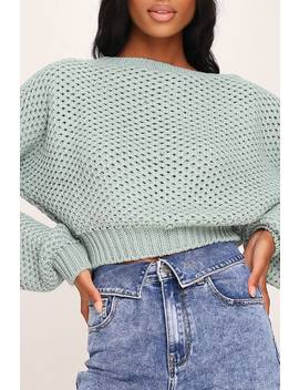sage-textured-balloon-sleeve-jumper by i-saw-it-first