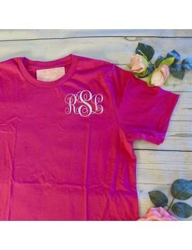monogram-short-sleeve-t-shirt-|-custom-embroidered-monogrammed-tee-for-bachelorette-party-_-summer-_-vacation-_-trip-_-bridesmaid-gift by etsy