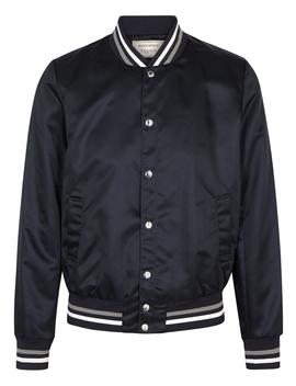 navy-logo-appliquéd-satin-bomber-jacket by maison-kitsuné