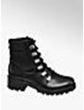Black Lace Up Hiker Boots by Catwalk