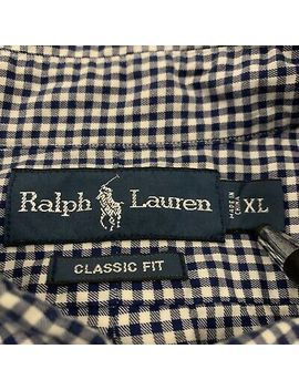 mens-polo-ralph-lauren-navy-blue-gingham-button-down-shirt-xl by polo-ralph-lauren