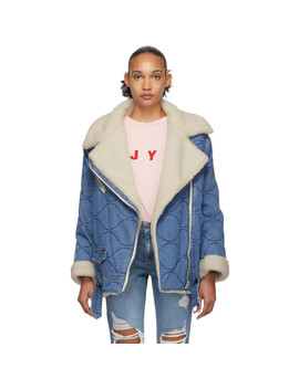 blue-denim-sherpa-rider-jacket by sjyp