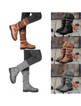womens-pu-mid-calf-boots-winter-socks-booties-buckle-block-heel-flat-shoes-size by ebay-seller