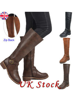womens-ladies-zip-up-back-knee-length-high-flat-block-low-heel-boots-shoes-size by ebay-seller