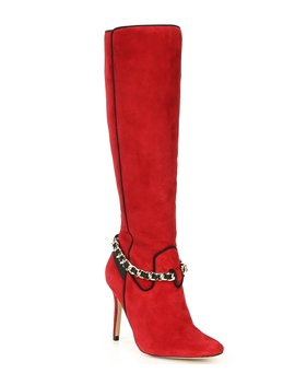maryam-tall-suede-chain-stiletto-boots by karl-lagerfeld-paris