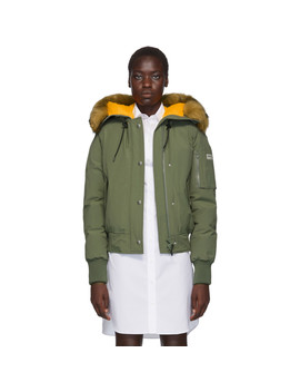 green-down-faux-fur-hooded-jacket by kenzo