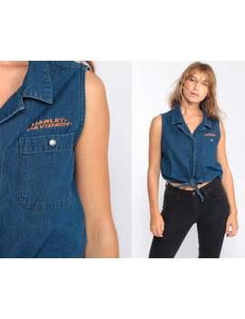 harley-davidson-tank-top-biker-shirt-denim-crop-top-motorcycle-shirt-jean-shirt-pearl-snap-vintage-90s-tee-button-up-sleeveless-medium by etsy
