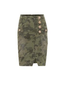 camouflage-denim-skirt by balmain