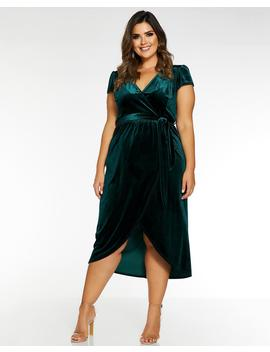 Quiz Velvet Wrap Dress by Simply Be