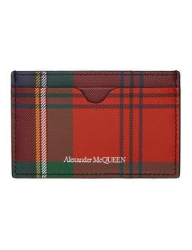 red-tartan-print-card-holder by alexander-mcqueen