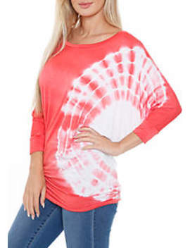 womens-banded-dolman-sleeve-tie-dye-top by white-mark
