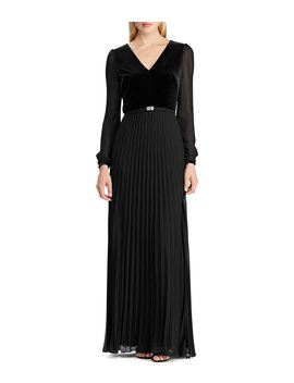 sheer-long-sleeve-with-embellished-belt-velvet-bodice-pleat-skirt-a-line-gown by lauren-ralph-lauren