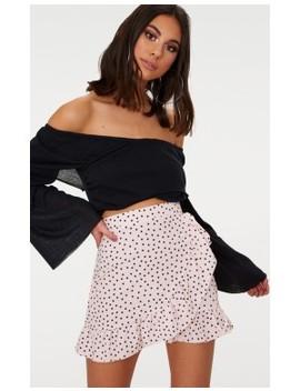 Nude Spot Print Frill Hem Wrap Mini Skirt by Prettylittlething