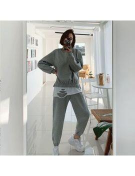 discosalon---set:-band-waist-fleece-lined-sweatshirt-+-sweatpants by discosalon