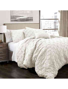 lush-decor-ravello-pintuck-king-comforter-set-in-ivory by bed-bath-and-beyond