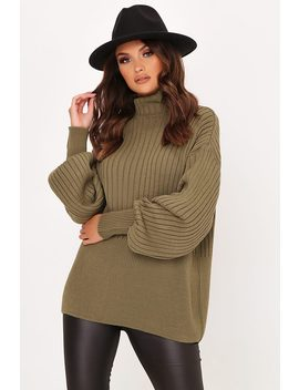 olive-green-balloon-sleeve-rib-knit-jumper by i-saw-it-first