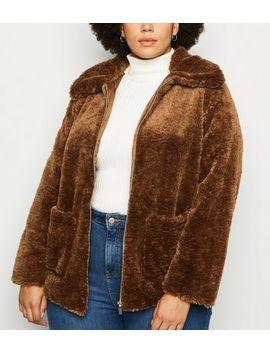 curves-dark-brown-teddy-jacket by new-look
