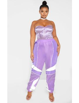 plus-lilac-contrast-panel-shell-joggers by prettylittlething