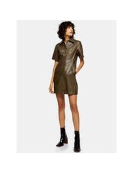 pu-shirt-dress---khaki by topshop