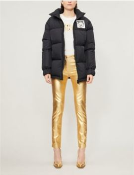 logo-patch-funnel-neck-shell-down-jacket by moschino
