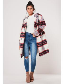 white-plaid-brushed-formal-coat by missguided