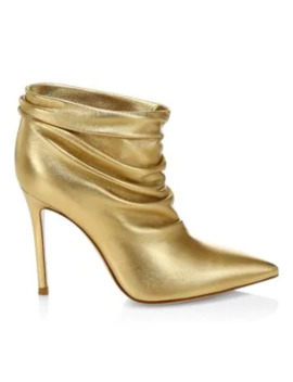 cyril-ruched-metallic-leather-ankle-boots by gianvito-rossi