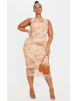 plus-nude-rennaisance-print-sleeveless-midi-dress by prettylittlething